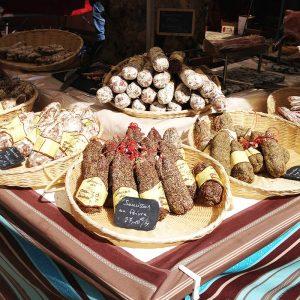 Sausages for sale at a Paris market